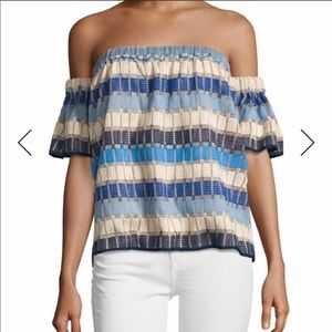 MILLY Marina off the shoulder knot top
